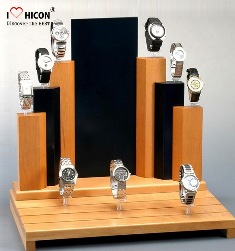 Inspire Customers Countertop Small Wooden Mens Watch Display Stand