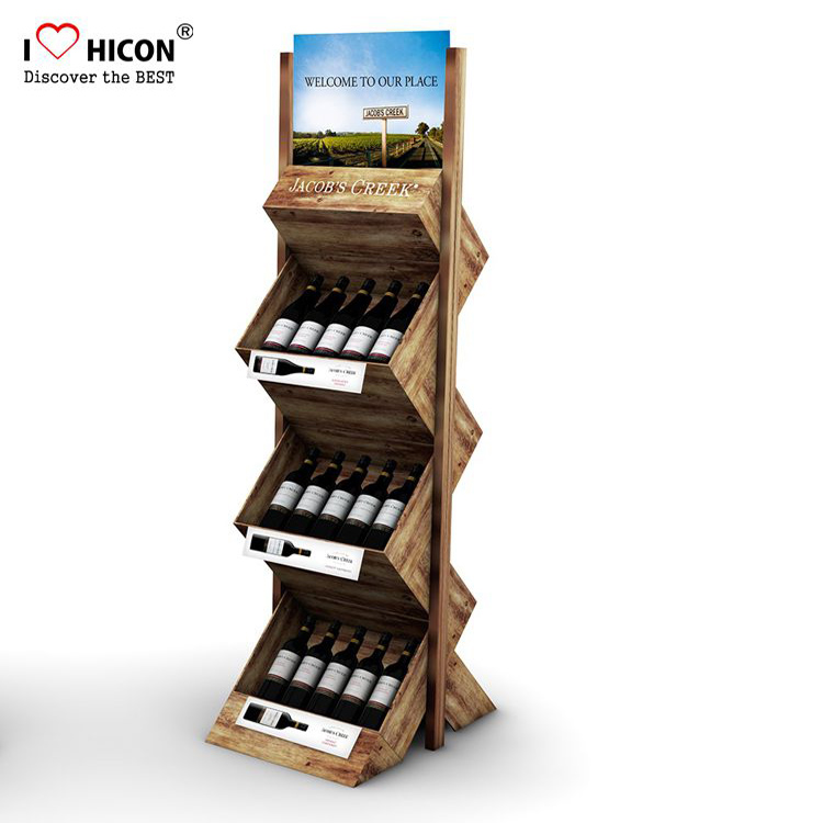 Teak Wooden Wine Shop Display Rack