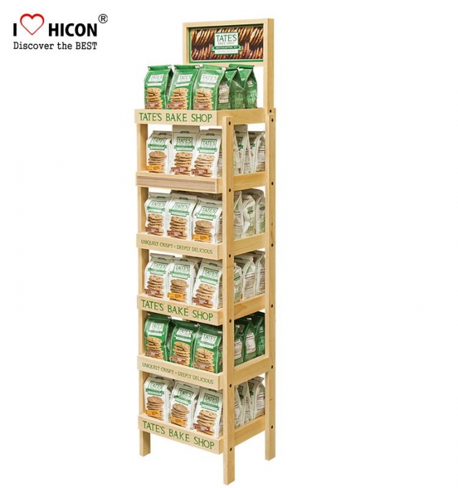 Catch Glance Freestanding Double Sided 5-Tiered Wooden Food Display Stand
