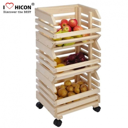 Wooden Fruit Vegetable Display Rack