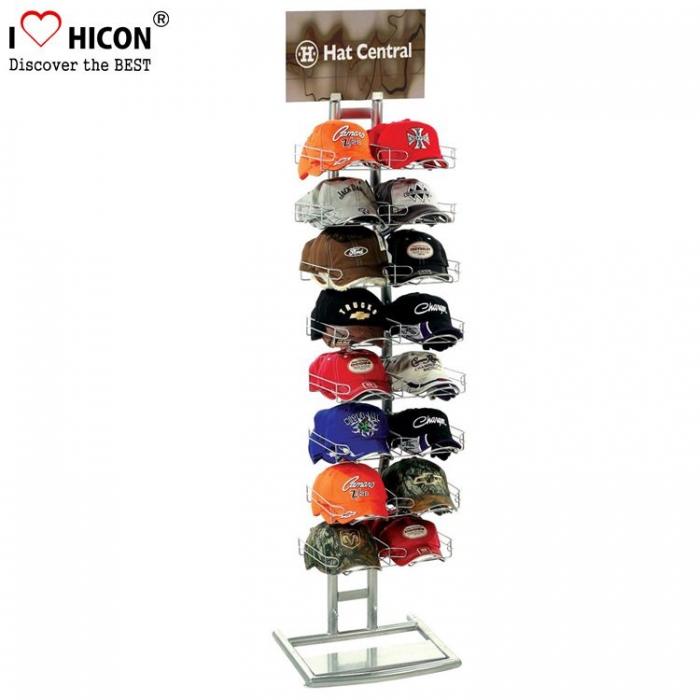 Cool Black Metal Customized Floor Hat Display Stand Tarnija