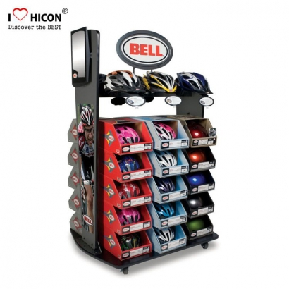 Black Helmet Display Rack Stores met spiegel