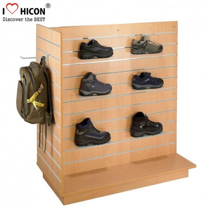 Brown Wood Floor Shoe Wall Display Shelves