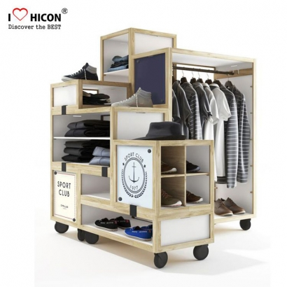 Wood Movable Clothes Hanger Display Rack
