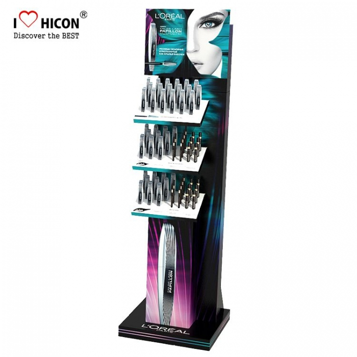 Elegantly Selling Salon Furniture Cosmetic Black Acrylic Mascara Display Shelving Display Stand