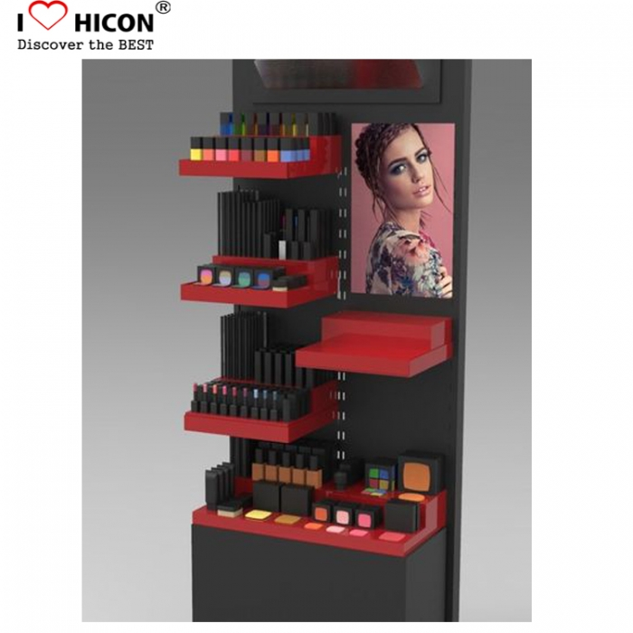 Retail Nail Polish Smykker Makeup 4-Layer With Mirror Akryl Kosmetikk Display Shelves
