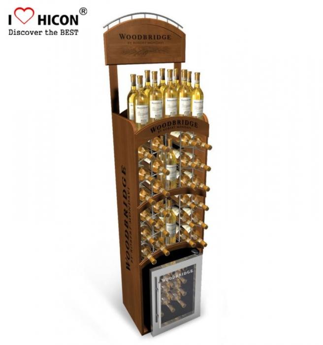 Custom Retail Shop Floor Whisky Bottle MDF Wooden Display