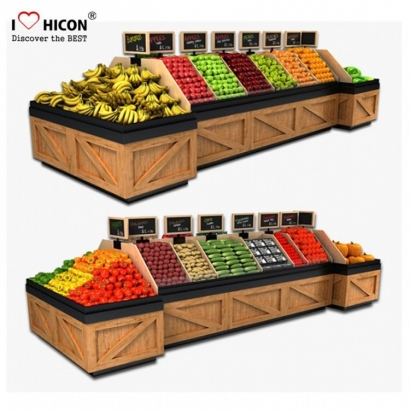wooden supermarket marketing display shelves