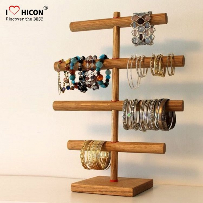 Convenient 3-sided Wood Portable Jewelry Bracelet Displays Stand