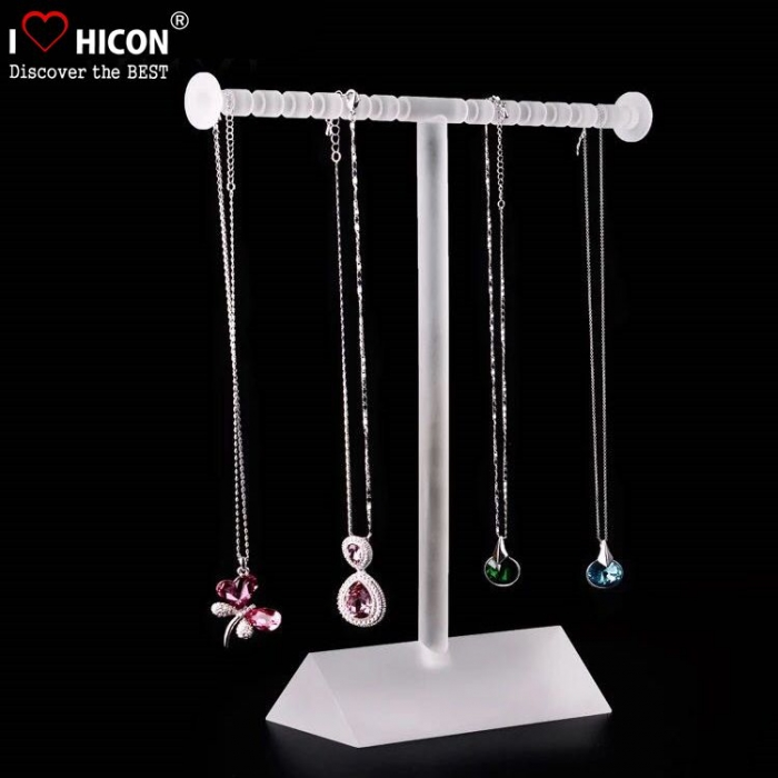 Countertop White Acrylic Jewelry Necklace Display Stand with Mirror