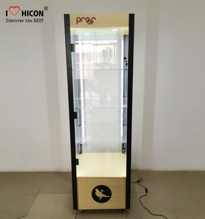 Light Black Metal Acrylic Sunglass Display Cabinet for Store with Door