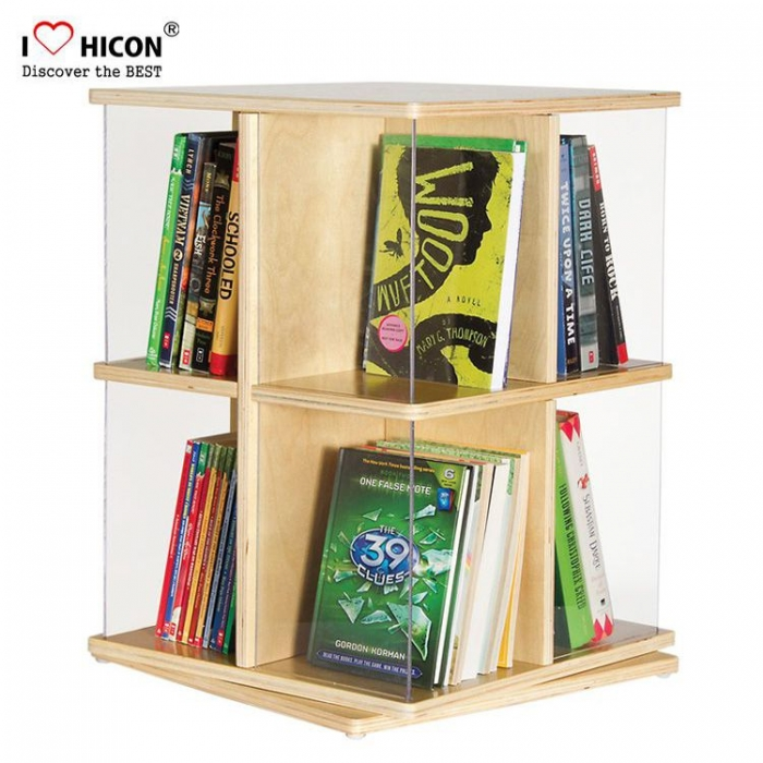 Fashion Custom Brown Wood Portable Tabletop Book Display Stand