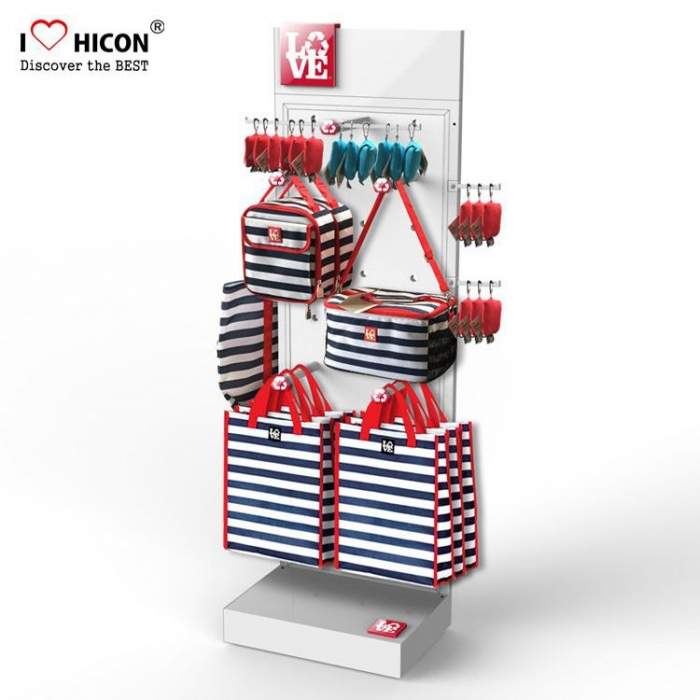store red metal merchandise bag retail shopping display stand butikk