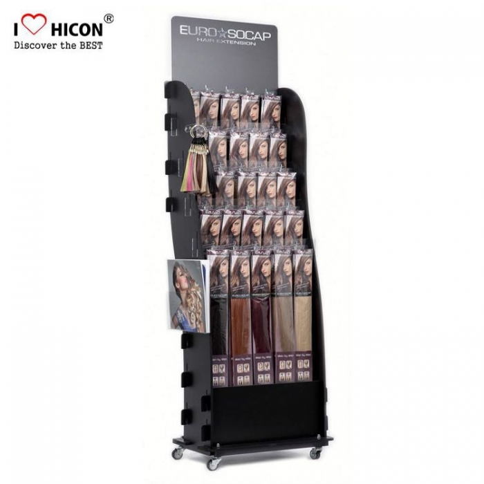 Fashionable Black Floor Hair Extension Display Units Manufacturers