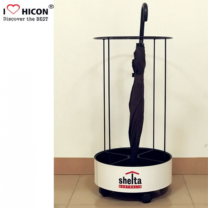 Durable Movable Black Metal Floor Custom Umbrella Display Stand Factory