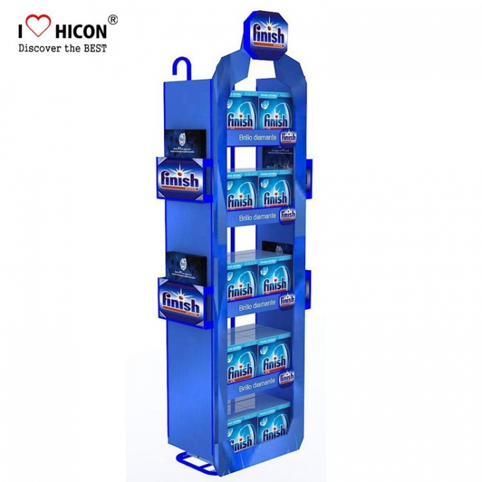 Unique Customized Blue Floor Cosmetics Retail Display Sales Rack