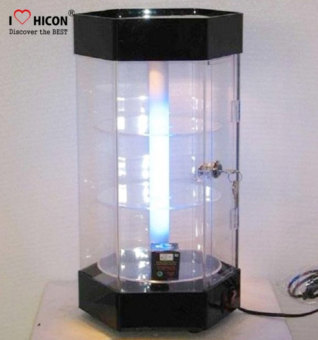 Lockable Commercial Countertop Rotating Glass Display Cabinet