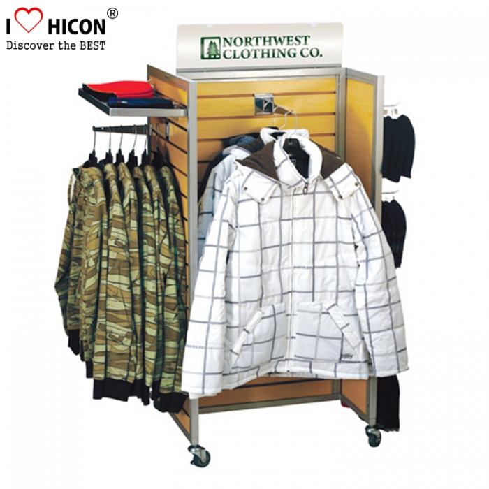 Get Attention Clothing Chain Store Wood Clothes Displays Movable