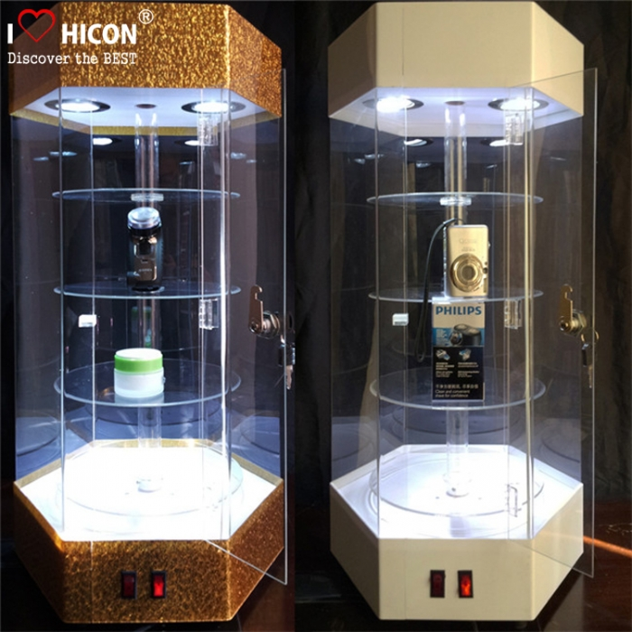 Lockable Floor Standing 4-Shelves Led Lighting Acrylic Display Cases