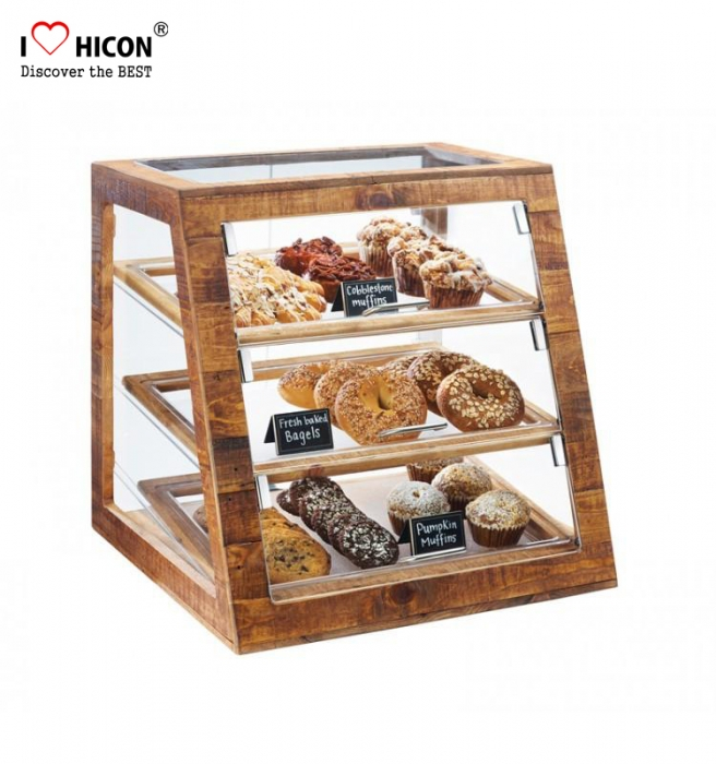 Custom Food Retail Glass Wood Bakery Bread Cake Display Cabinet