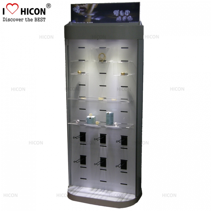 Jewelry Store Custom Commercial Wood Acrylic Jewelry Display Floor Stands