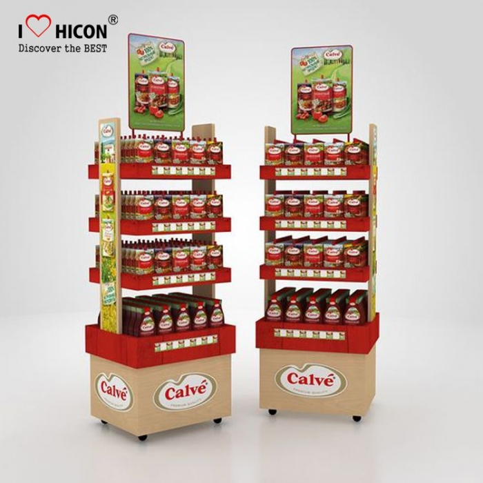 Food Store Dry Nut Fruits Display Units Wood Display Rack Movable