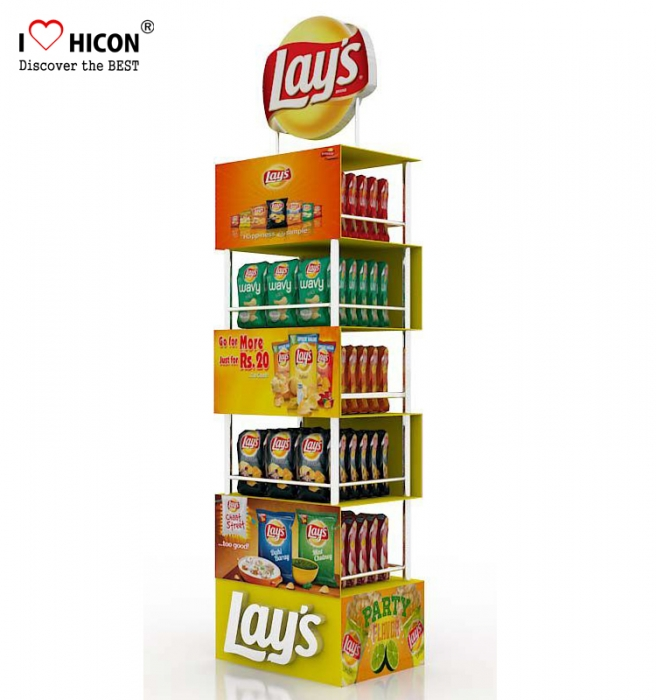 In Store Wire Point Of Purchase Snack Chip Bag Display Racks 4 Layer