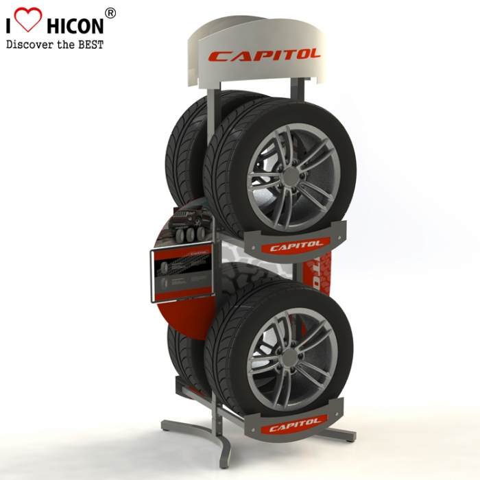 Car Spare Parts Showroom Heavy Duty Wheel Rim And Tire Display Rack