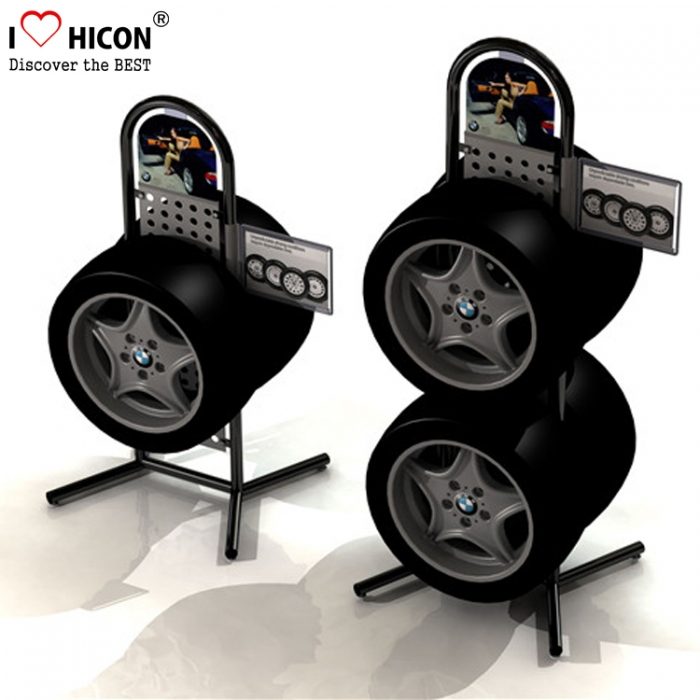Automotive Tyre Retail Store Free Standing Single Layer Tire Rack Display