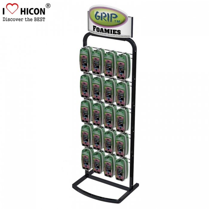 5-Tier Metal Hook Mobile Case Cell Phone Accessory Floor Display Rack