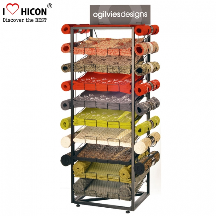 Floor Products Store Wood Frame Metal Carpet Sample Rolling Display Stand