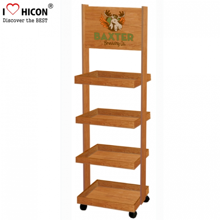 Wood Store Gondola POP Merchanding Movable 4-Layer Floor Display Stands