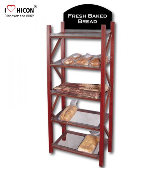 Quality Supermarket Commercial Solid Wood Bread Display Shelf