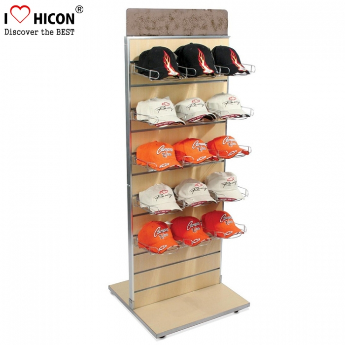 Slatwall Wood Double Side Metal Holder Hat Cap Point Of Display Shelf