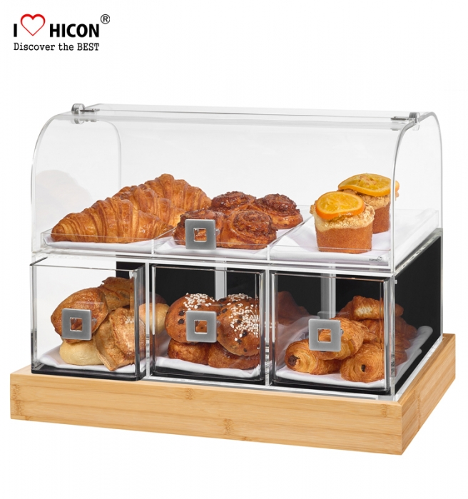 Keep Food Fresh Retail Store Acrylic Showcase Bread Bakery Display Cabinets