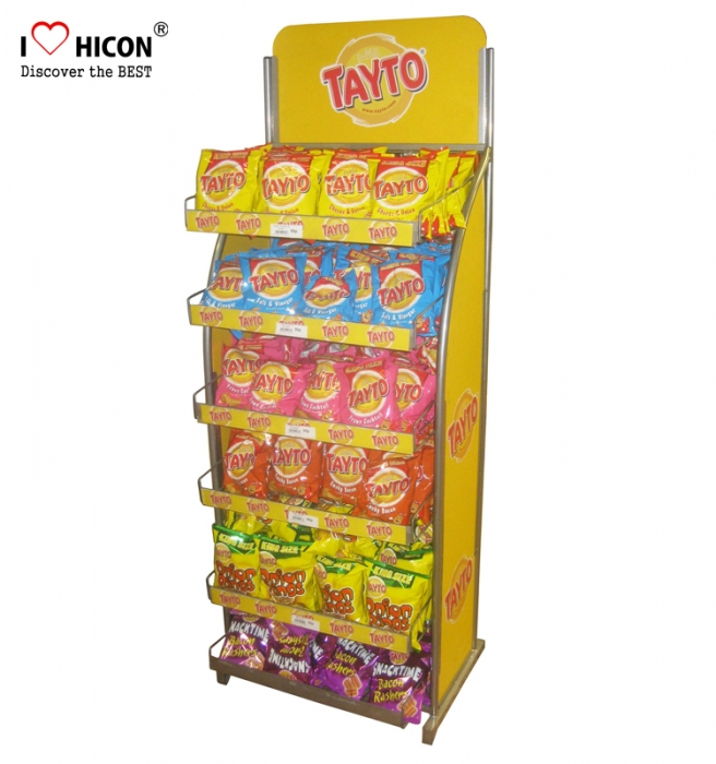 Your Brand Sweet Candy Chips Advertising In Store Metal Food Display Stand