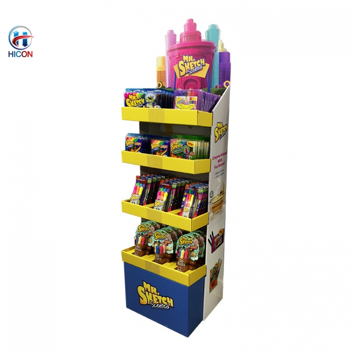 Cost Effective In Store Movable Free Standing Cardboard Floor Display Stand