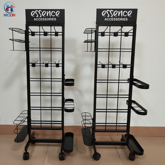 Custom Retail Store Metal Rack Umbrella Display Rack With Casters