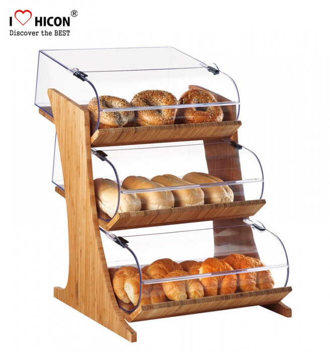 Custom Acrylic Glass Shelving Donut Food Display Cabinet Display Case