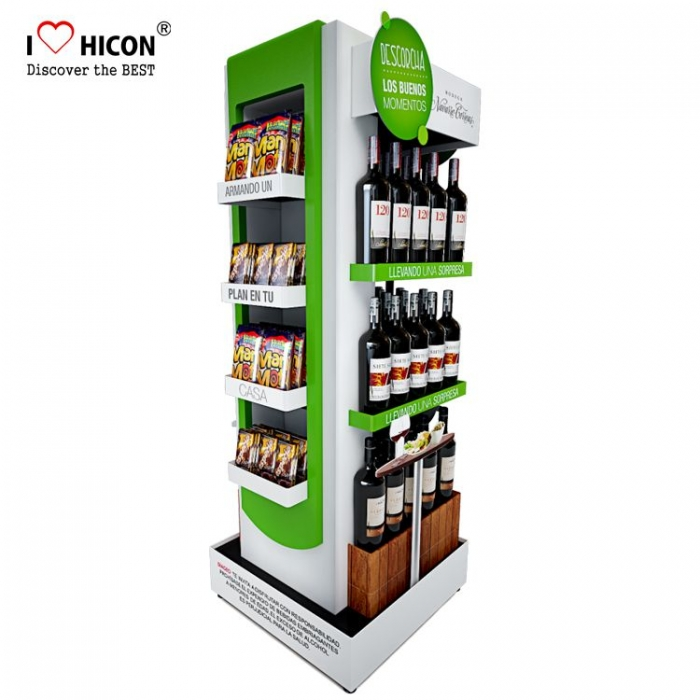 Custom Logo Free Standing Beverage Shop Retail Liquor Pos Display Racks