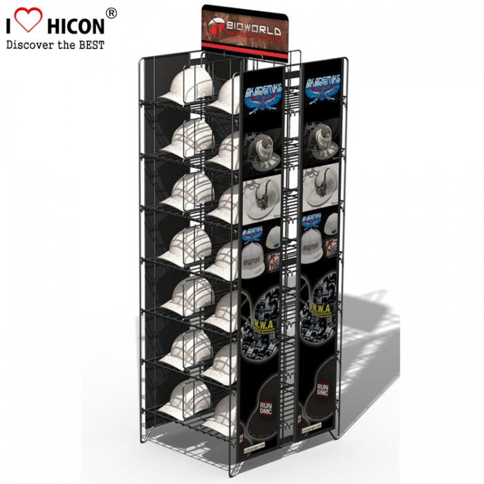 Customized Metal Cowboy Hats Stand Caps Display Stand with Cool Graphics