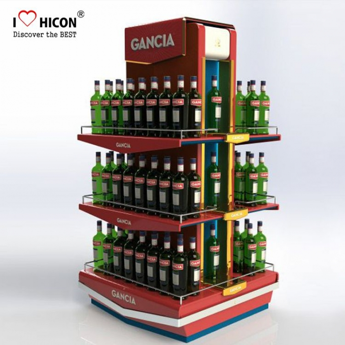 Custom Cool Liquor Convenience Store Floor Water Display Equipments For Sale