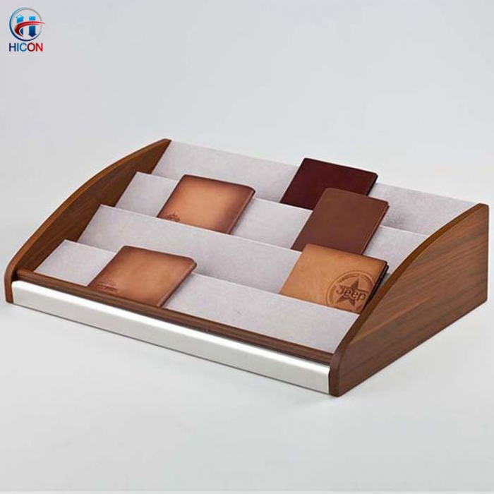 Leather Bag Retail Display Promotional Solid Wood Wallet Display Stand