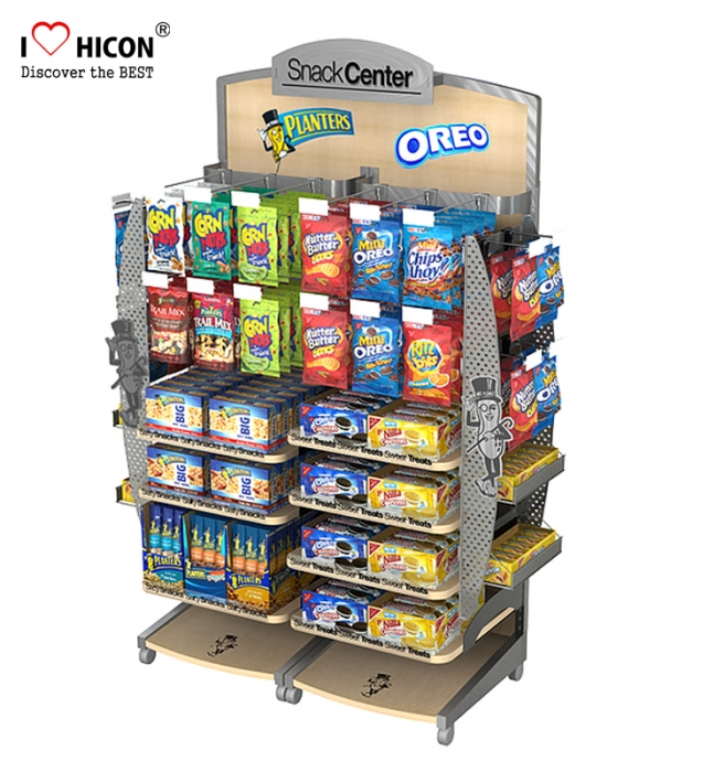 Metal Hook Wood Shelving Retail Display Sweet Shop Candy Display Stands