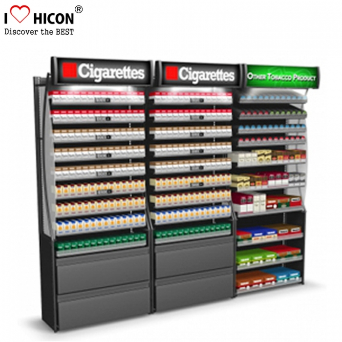 Commercial Cigarette Retail Shop Unique Floorstanding Tobacco Display Stand