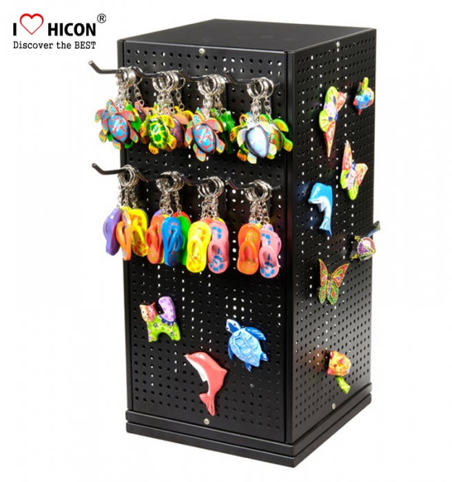Gifts Shop Metal Counter Top Display Rotating 4-Sided Keychain Stand